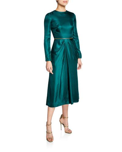 Long-Sleeve Satin Zip-Waist Skirt