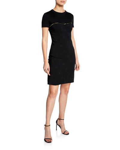 Short-Sleeve Silk Cocktail Dress w/ Golden Zipper Detail