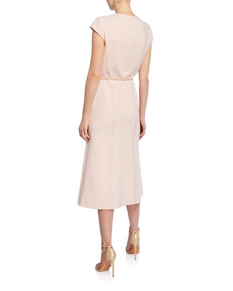 Giberna Cap-Sleeve Belted Dress