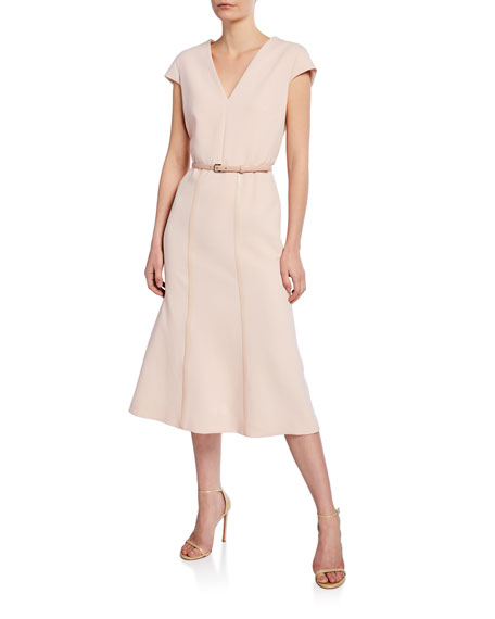 Maxmara Giberna Cap-Sleeve Belted Dress