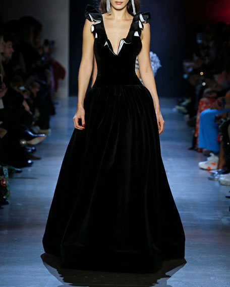 Prabal Gurung Tops KINGSTON RUFFLED V-NECK VELVET GOWN