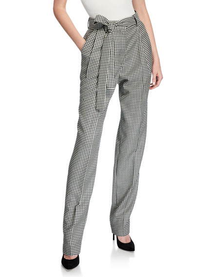 Prabal Gurung Pants Simone Belted Houndstooth Trousers, BLACK/WHITE