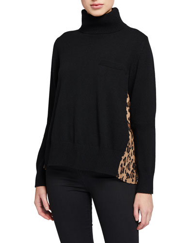 Leopard-Panel Turtleneck Sweater