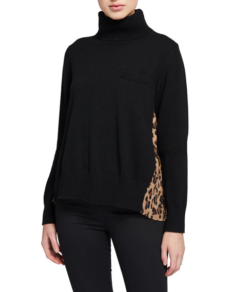 Leopard-Panel Turtleneck Sweater