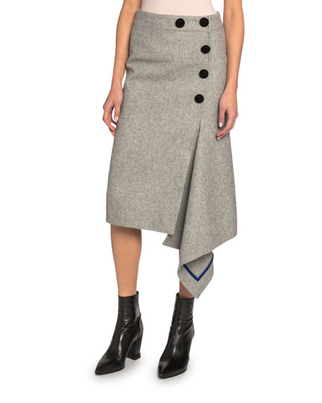 Velvet-Trim Wool Flannel Draped Midi Skirt
