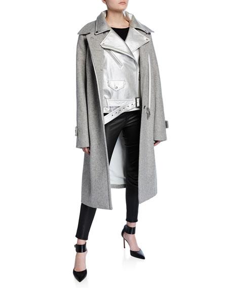 Metallic Leather Moto Jacket Lined Wool Car Coat