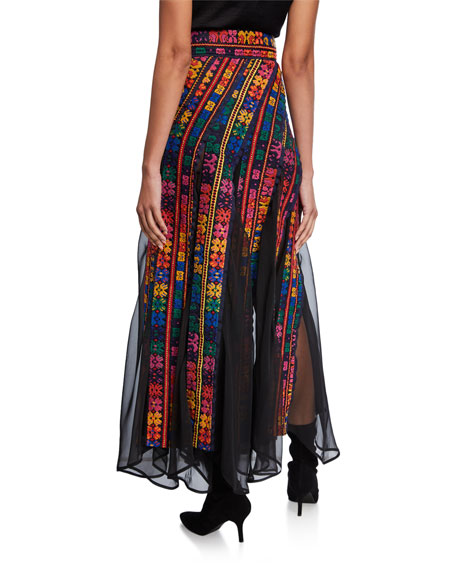 Floral-Embroidered Chiffon Panel Maxi Skirt