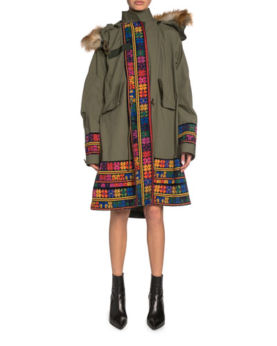 Faux-Fur Trim Floral-Embroidered Trim Parka Jacket