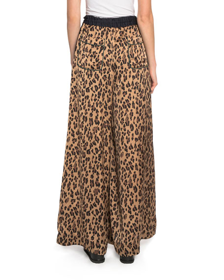 Leopard-Print Satin Wide-Leg Pants