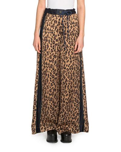 Leopard-Print Satin Wide-Leg Pants