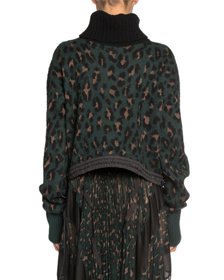 Leopard Jacquard Turtleneck Crop Sweater