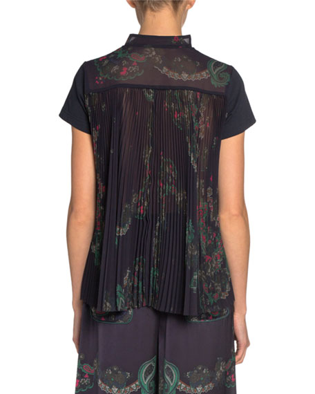 Cotton-Front Tee with Paisley-Print Chiffon Back