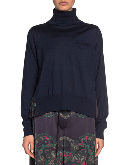 Wool-Front Turtleneck with Paisley-Print Satin Back