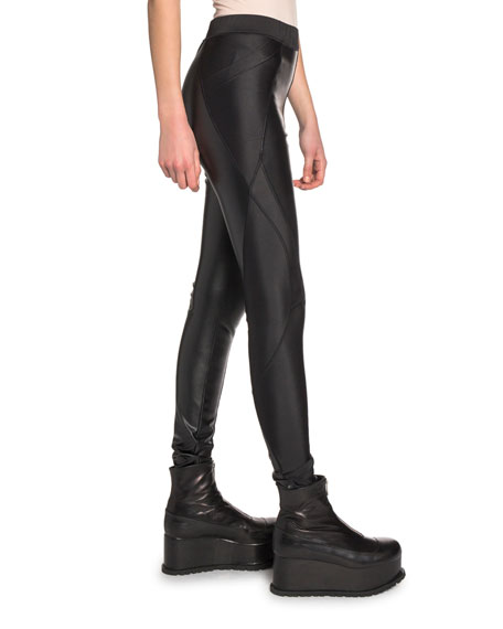 Seamed Faux-Leather Leggings