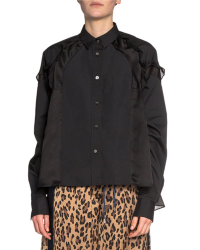 Ruffled Satin-Shoulder Button-Front Shirt