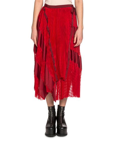 Lace & Satin Panel Asymmetric Midi Skirt