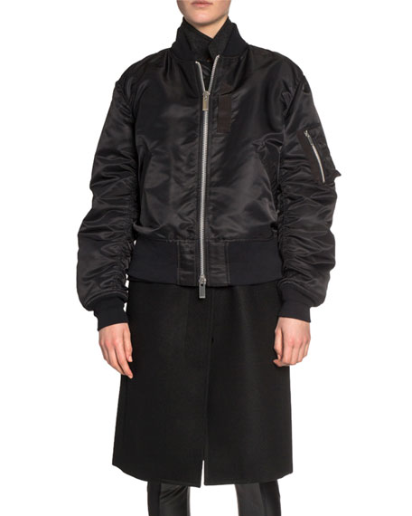 Wool Coat Layered Bomber Jacket