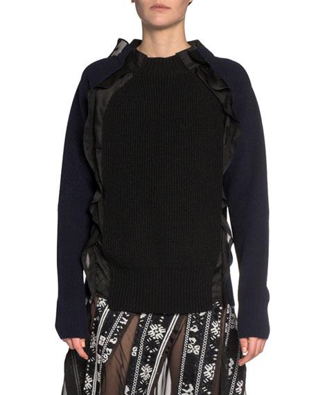 Ruffled Satin-Trim Waffle-Knit Sweater