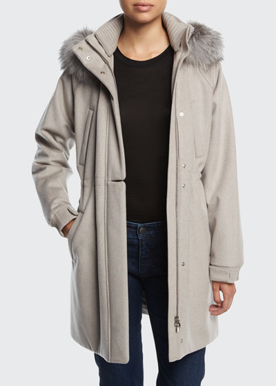 Icery Cashmere Storm System; Ski Jacket with Fox Fur