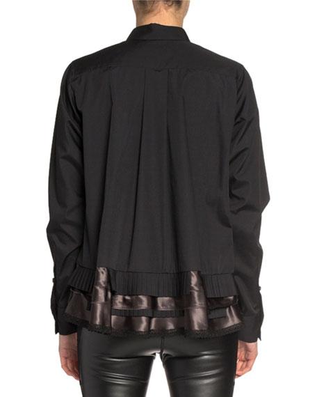 Ruffled Ribbon-Hem Button-Front Shirt