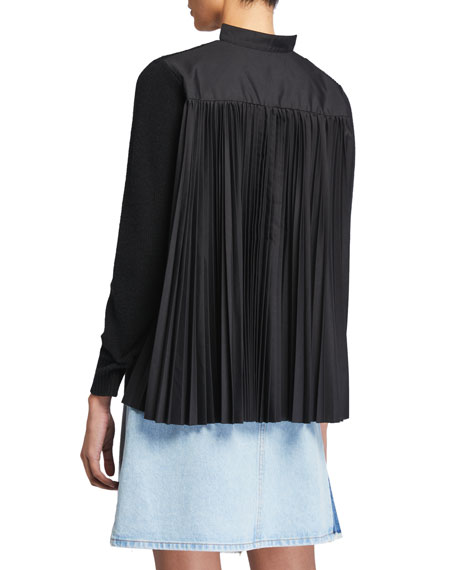 Solid Wool Front Pleated Poplin Cardigan