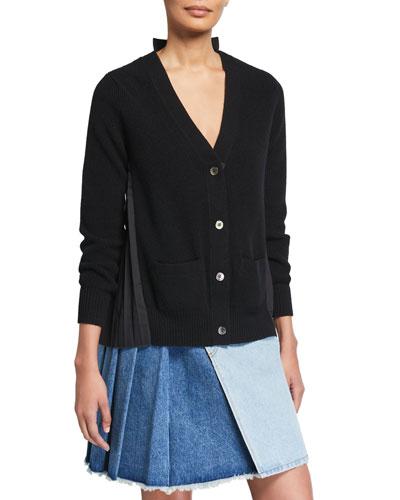 Solid Wool Front Pleated Poplin Cardigan