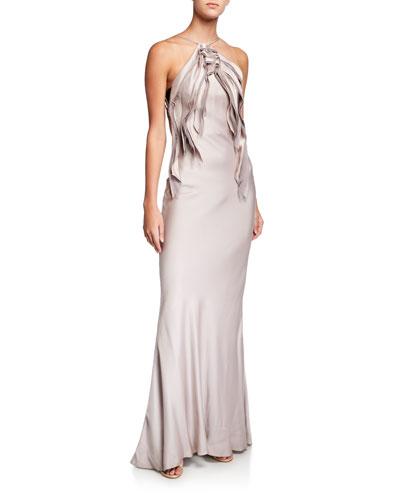 Ruffled Satin Halter-Neck Dress