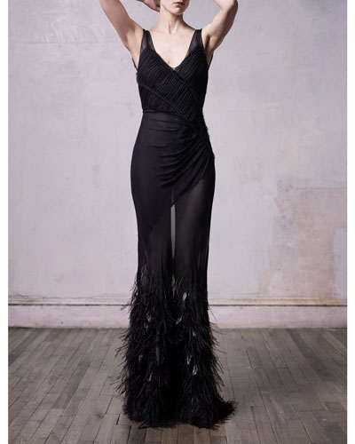 Silk Crinkled Chiffon Feather-Embroidered Gown