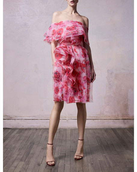 Jason Wu Off-the-Shoulder Poppy Print Organza Cocktail Dress