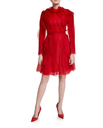 Crinkled Organza Long-Sleeve Cocktail Dress