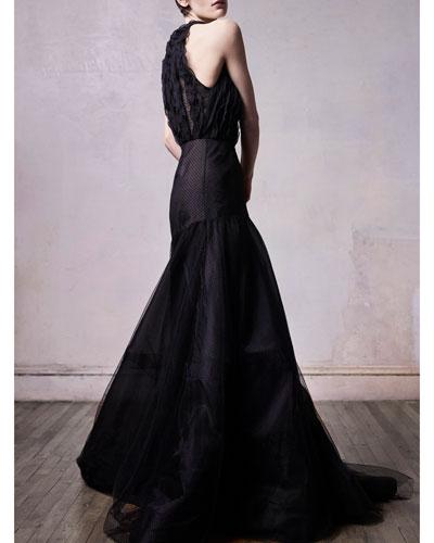 Flocked Point d'Esprit Lace Halter Dress