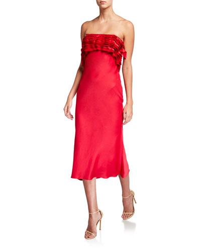Crepe-Back Satin Strapless Cocktail Dress
