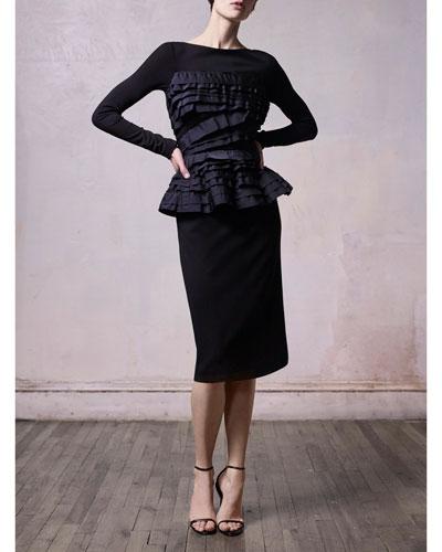 Stretch Ponte Long-Sleeve Cocktail Dress