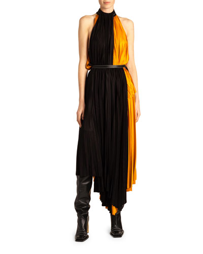 Colorblocked Mix-Pleated Dress