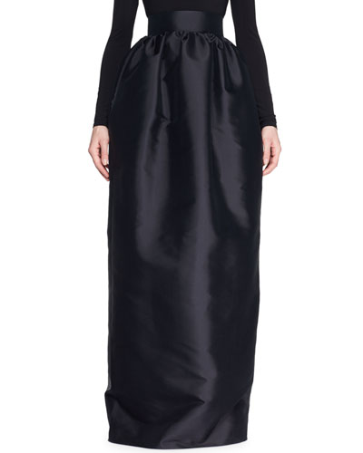 Ranel High-Waist Full Silk Duchess Evening Skirt