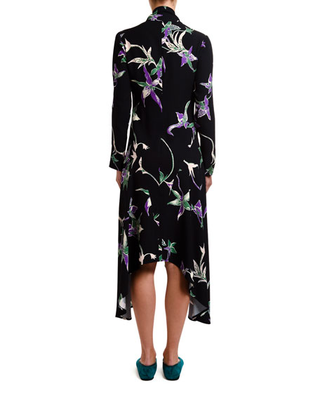 Orchid-Print Sable Tie-Neck Handkerchief Dress