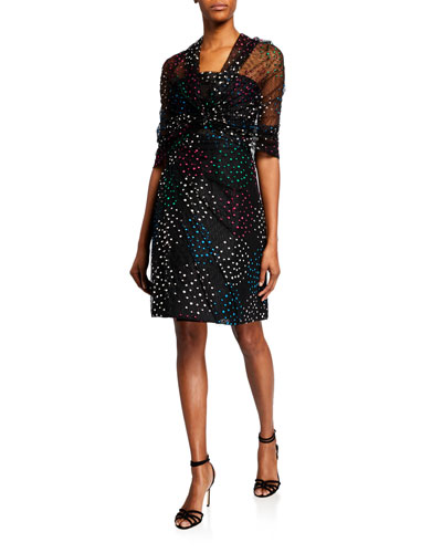 Strapless Polka-Dot Embroidered Lace Dress