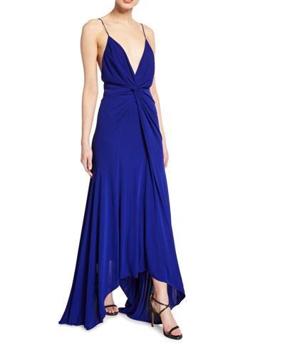 Knotted Deep-V Jersey Dress