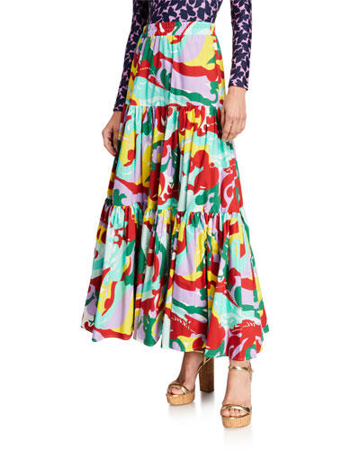 Floral Print Tiered-Cotton Maxi Skirt