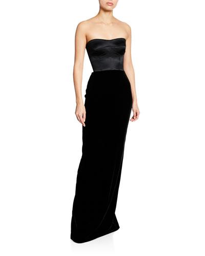 Strapless Velvet Combo Bustier Gown