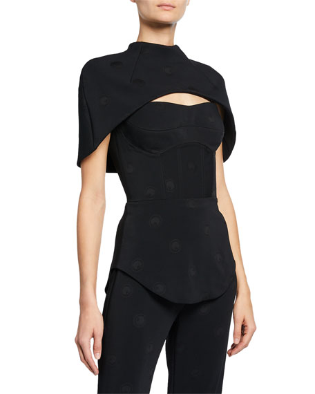 Brandon Maxwell Caped Bustier Top