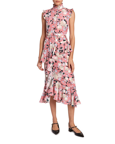 Irina Ruffled Floral Cap-Sleeve Dress