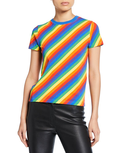 Rainbow Striped Crewneck Short-Sleeve Top