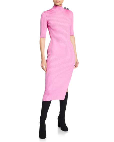 1/2-Sleeve High-Neck Dress
