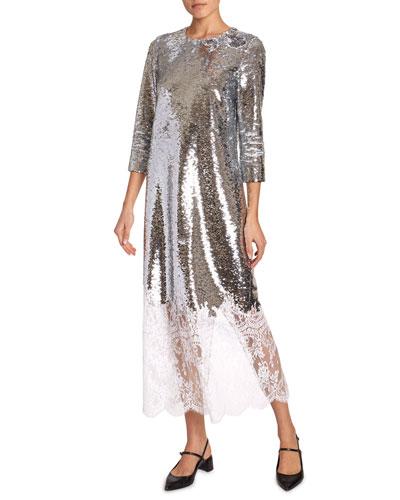 Evanna 3/4-Sleeve Sequined Lace-Hem Dress