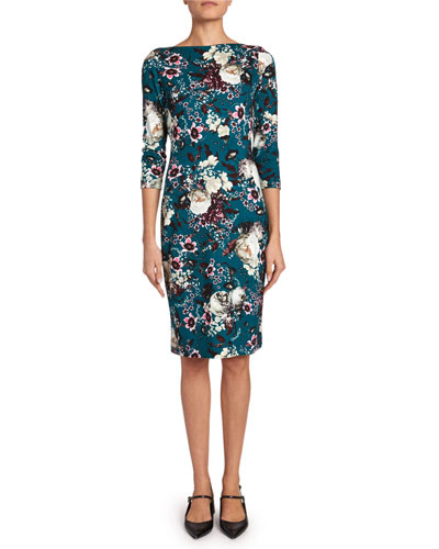 Reese 3/4-Sleeve Floral Jersey Dress