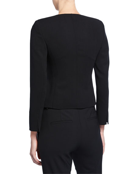 Tabbed Button-Front Short Wool Jacket