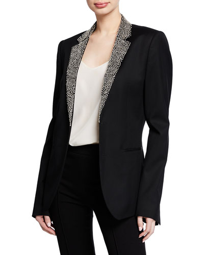 Embroidered-Lapel Wool Jacket