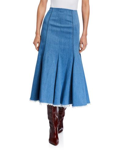 Amy Denim Contrast-Stitch Flare Skirt