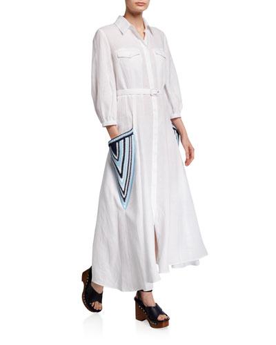 Linen Embroidered-Pocket Shirtdress